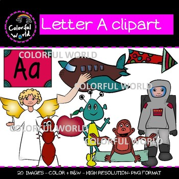 Beginning sounds - Letter A clipart