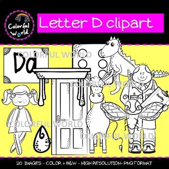 Beginning sounds - Letter D clipart