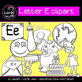 Beginning sounds - Letter E clipart