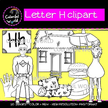 Beginning sounds - Letter H clipart