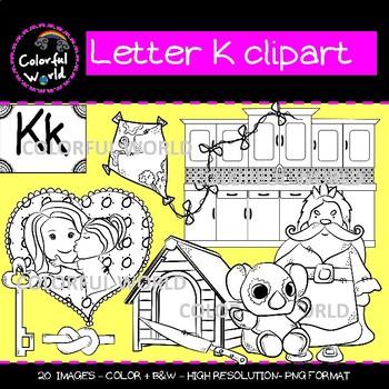 Beginning sounds - Letter K clipart
