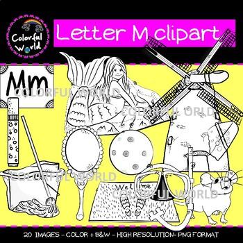 Beginning sounds - Letter M clipart
