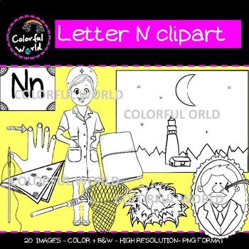 Beginning sounds - Letter N clipart