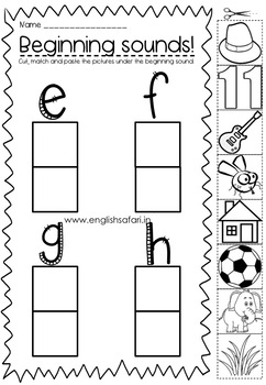 Beginning sounds a, b, c and d cut paste activity.