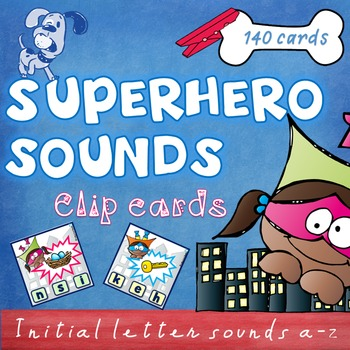 Superhero Letter Sounds Phonics Clip Cards