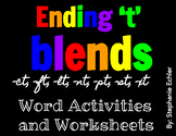 Ending 't' Blends Word Activities and Worksheets