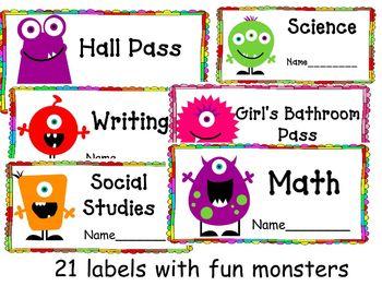 Back to School: Classroom Organizational Labels