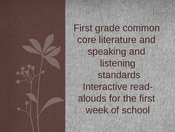 Beginning to Meet Common Core Literature and Speaking/Listening Standards
