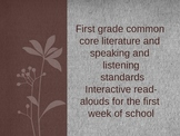 Beginning to Meet Common Core Literature and Speaking/List