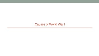 Beginnings of WWI Notes
