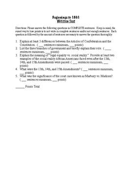 Beginnings to 1861 Written Test