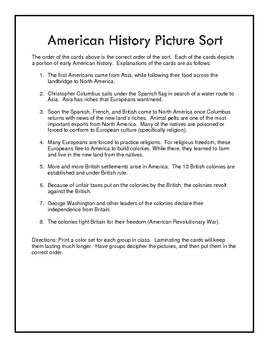 Beginnings to American Revolution Picture Sort