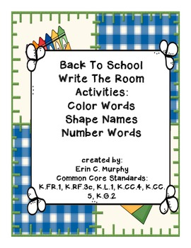 Beginnng of the Year Write the Room Activity Pack