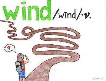Begins to Wind Cartoon--Printable Montessori Homograph Card