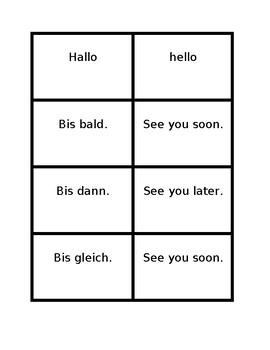 Begrüßung und Abscheid (Greetings in German) Concentration games