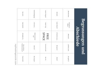 Begruessungen und Abschiede Vocabulary Bingo