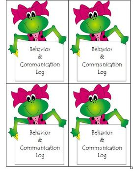 Behavior 2013 - 2014 Monthly Calendars & Communication Log with Folder Labels