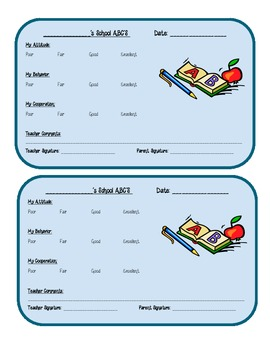 Behavior ABC Chart