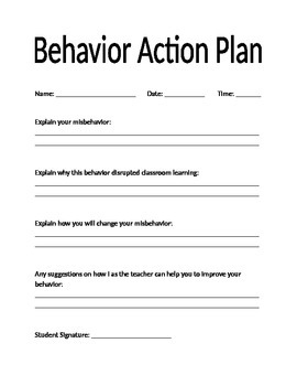 Behavior Action Plan and Student Red Slip