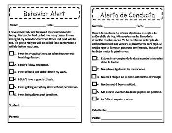 Behavior Alert/Alerta de conducta