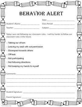 Behavior Alert Note