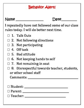 Behavior Alert/Note Home (Classroom Management Tool)