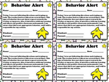 Behavior Alert - Note for Parents  - King Virtue