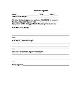 Behavior Assignment