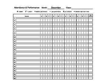 Behavior, Attendance, & Performance Spreadsheets