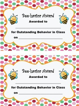 Behavior Award, Bee Theme