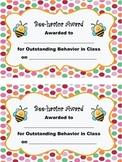 Behavior Award, Bee Theme