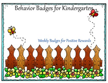 Behavior Badges for Kindergarten