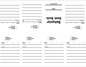 Behavior Bank Book (Using Math to Record Behavior Points)