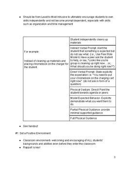 Behavior Basics: Focusing on the Positive, Behavior Reference