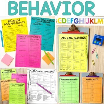 Behavior Binder: ABC Data, Behavior Tracking and  Behavior Management Resources