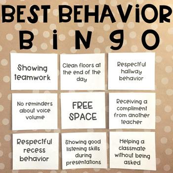 Classroom Management - Best Behavior Bingo Game