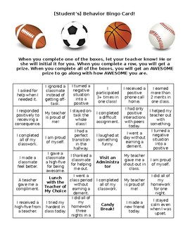 Behavior Bingo Card! Perfect for Elementary or Middle School Students