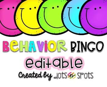 Behavior Bingo {Editable!}