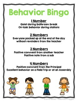 Behavior Bingo Freebie!