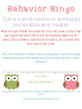 Behavior Bingo Owl Theme