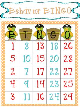 Behavior Bingo Pirate Theme