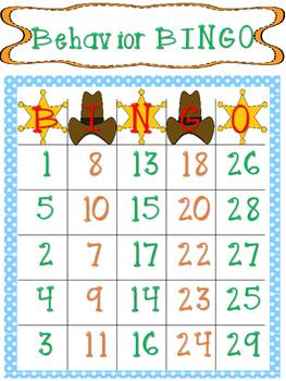 Behavior Bingo Western Theme