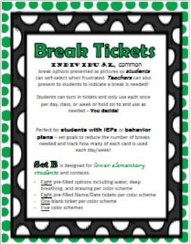 Behavior Break Tickets - Set B (Lower Elementary) {Great for ED/ODD/OHI!}