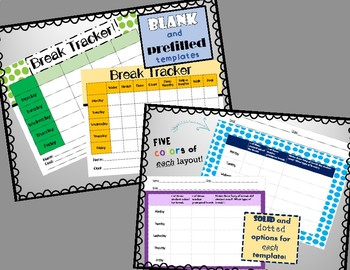 Behavior Break Tickets and Trackers BUNDLE  - Set A (Upper Elementary/Middle)