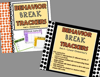 Behavior Break Tickets and Trackers BUNDLE  - Set B (Lower Elementary)