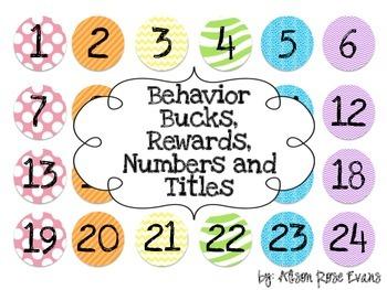 Behavior Bucks, Rewards, Numbers and Titles