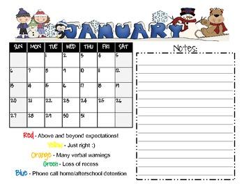 Behavior Calendar 2012 - 2013 with Colors