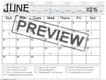 Behavior Calendar 2014-2015