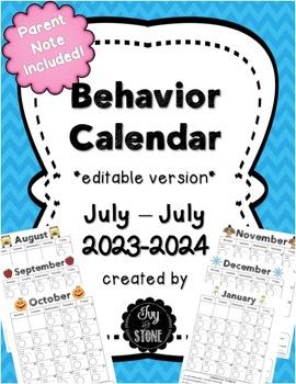 Behavior Calendar 2017-2018 editable