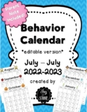 Behavior Calendar 2018-2019 editable